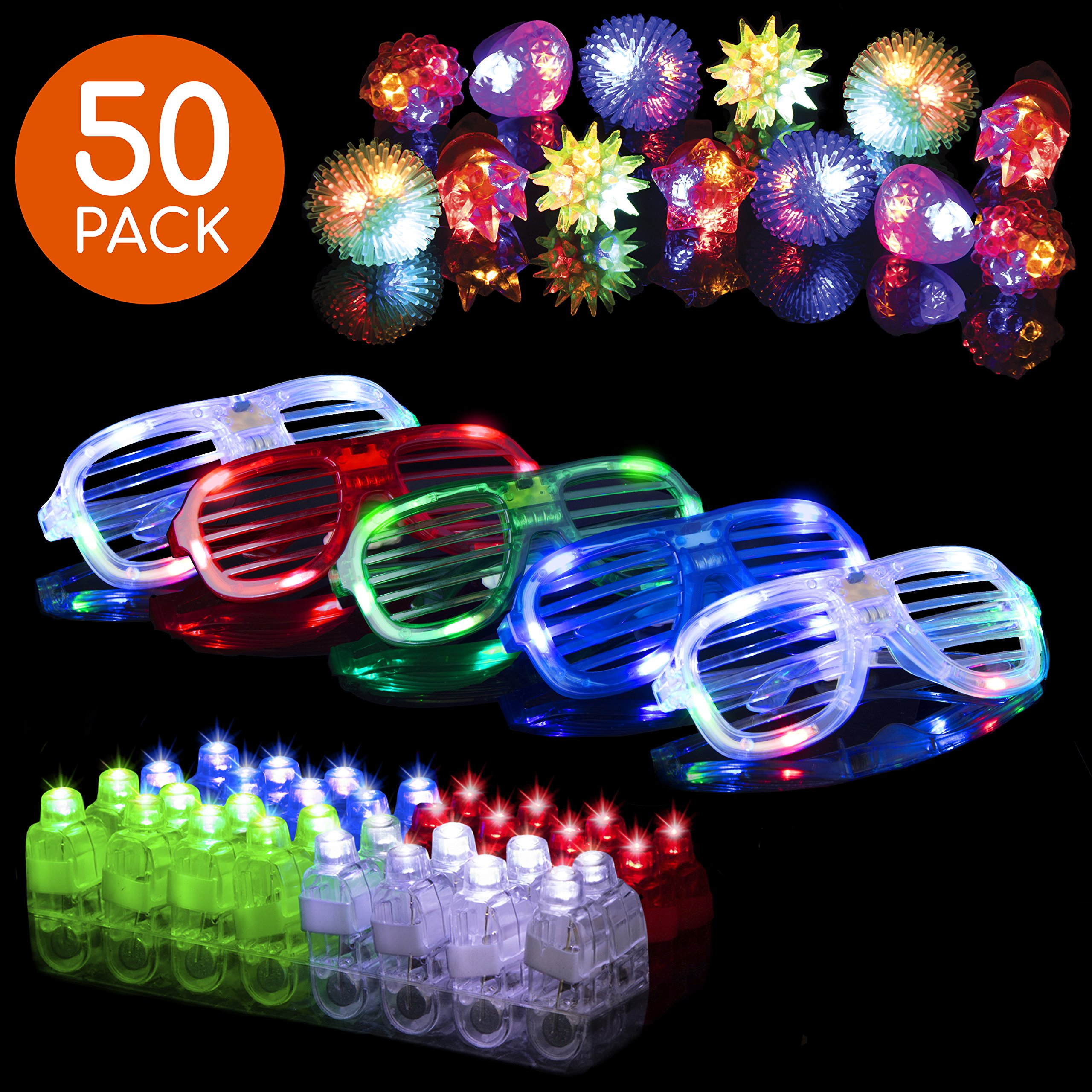 LED Glow Party Favors Party Supplies - 50 LED Glow Party Favor for Kids Glow in The Dark Party Supplies 32 Finger Light Up Toys + 13 Glow Rings + 5 Shades by PartySticks (Image #1)