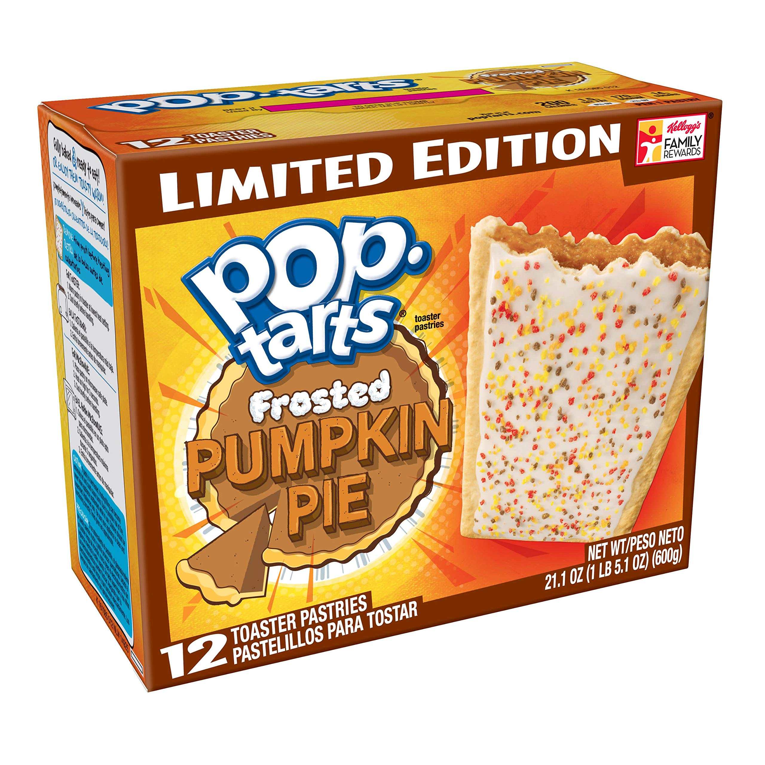 Pop-Tarts Breakfast Toaster Pastries, Frosted Pumpkin Pie Flavored, Limited Edition, 21.1 oz, 12 Count,(Pack of 12)