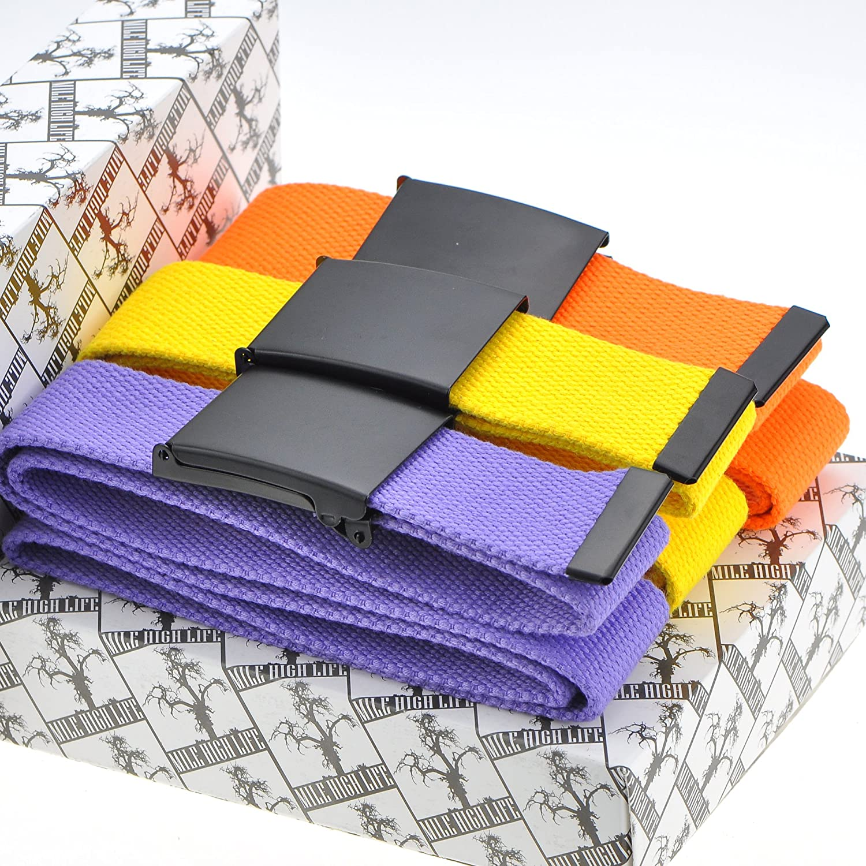Mile High Life Cintur/ón de cintura ajustable hasta 52con hebilla militar negra s/ólida 16 colores y opciones de combinaci/ón
