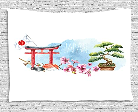 Amazon Com Lunarable Japan Tapestry Torii Gate Bonsai Tree Cherry Blossom Sushi Roll Chopstick And Japan Flag Watercolors Wide Wall Hanging For Bedroom Living Room Dorm 60 X 40 Multicolor Home Kitchen