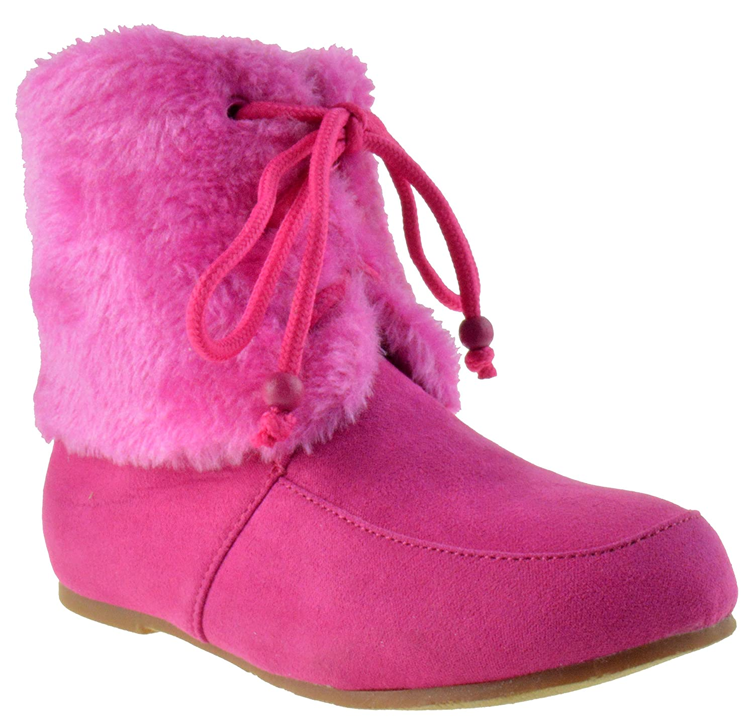 Wool Girls Lace up Fur Boots