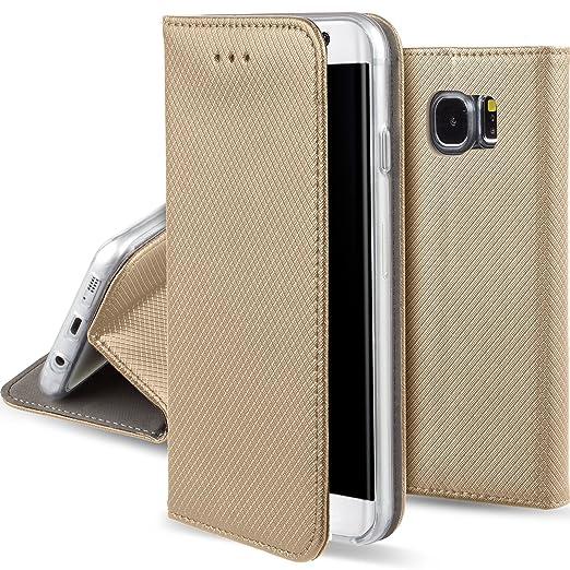 23 opinioni per Cover Samsung Galaxy S6 Oro- Custodia a libro Flip Smart magnetica de Moozy® con