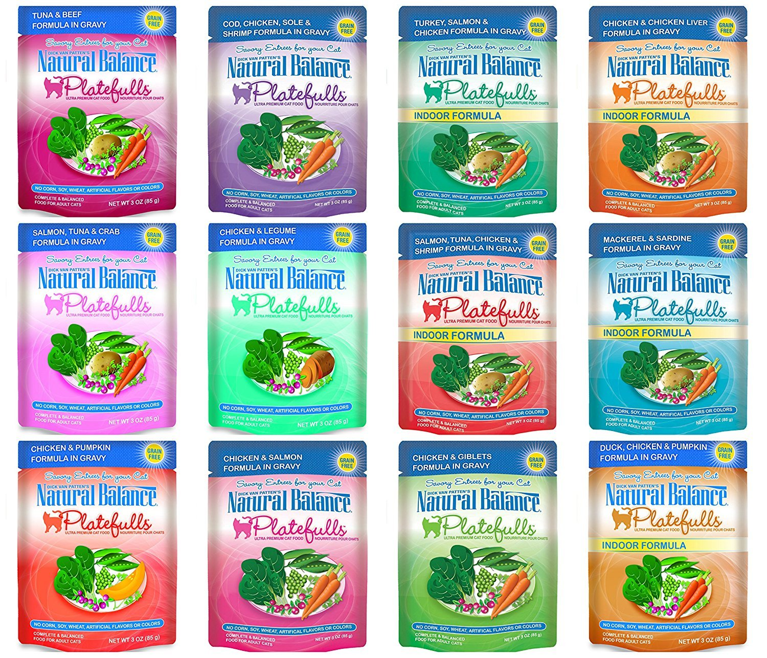 Dick van Patten's Natural Balance Grain-Free Platefulls Indoor and Regular Formula Cat Food 12 Flavor Variety Bundle, 3 Ounces Each (12 Pouches Total) by Natural Balance