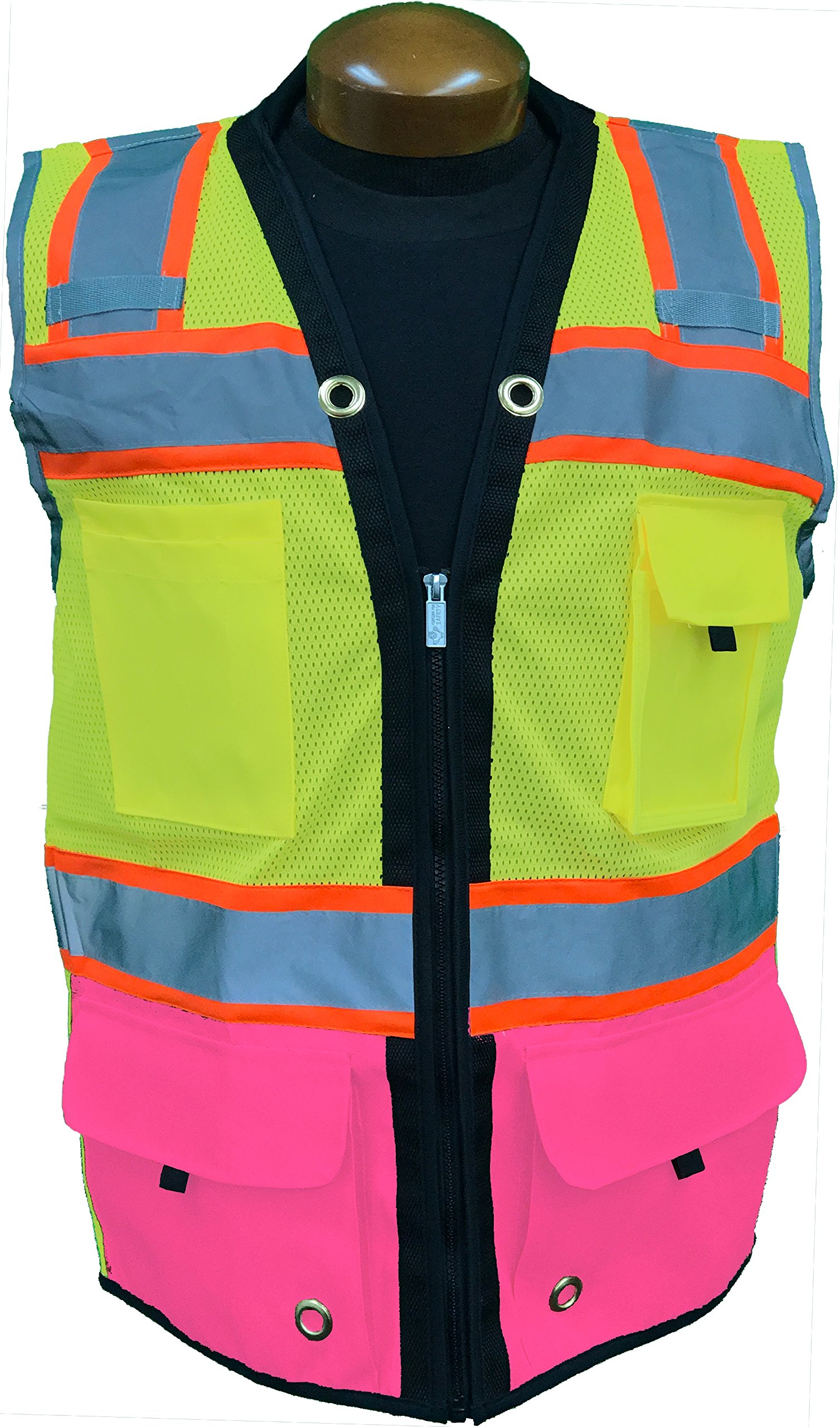 SHINE BRIGHT SV544PK | Premium Surveyor's High Visibility Safety Vest | 2 Tone Lime/Pink with Reflective Strips |ANSI CLASS 2 |Soft and Breathable |Heavy Duty Zipper Front | Size Large