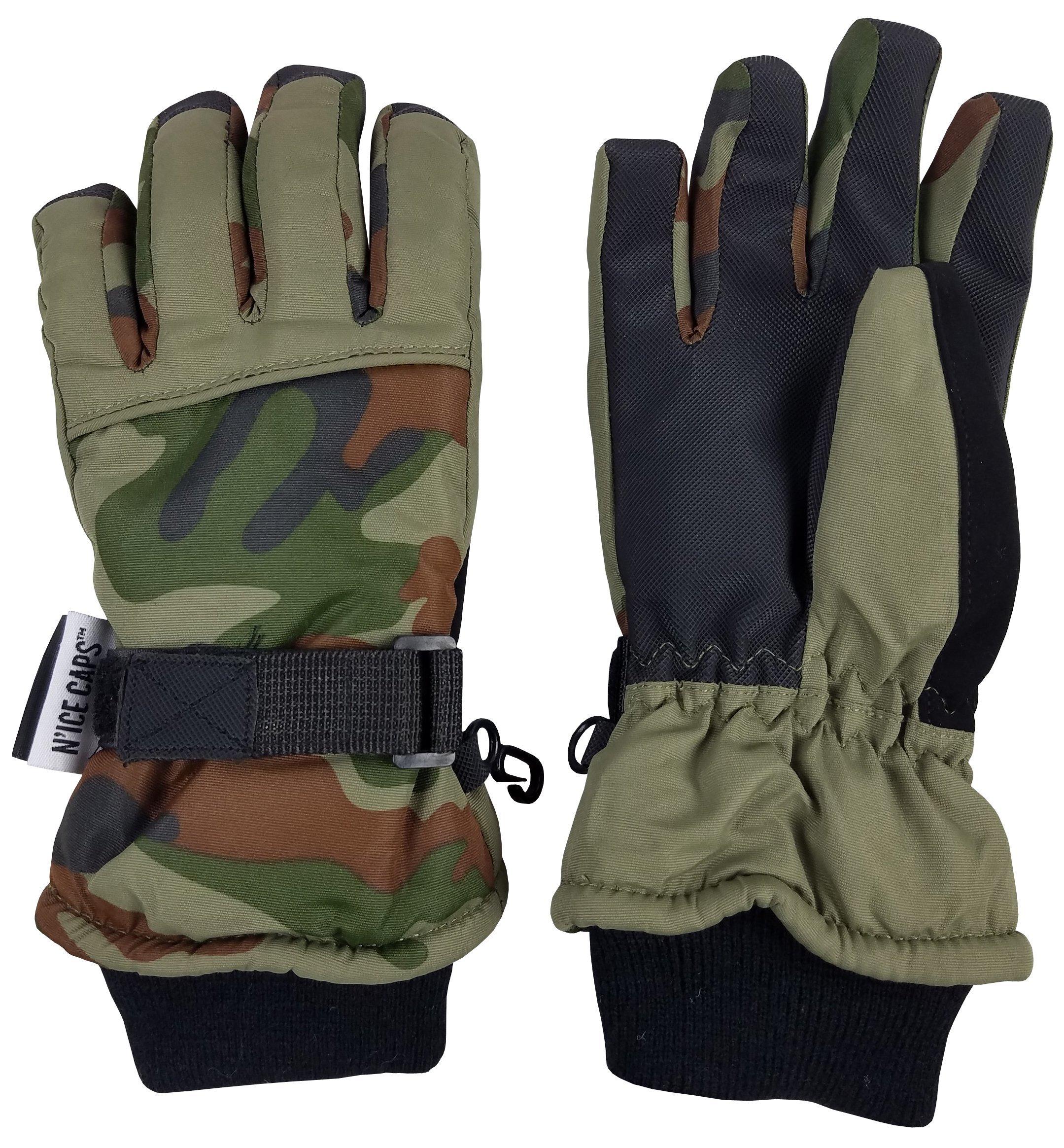 N'Ice Caps Kids Cold Weather Waterproof Camo Print Thinsulate Ski Gloves (10-12 Years, Green Camo/Black)