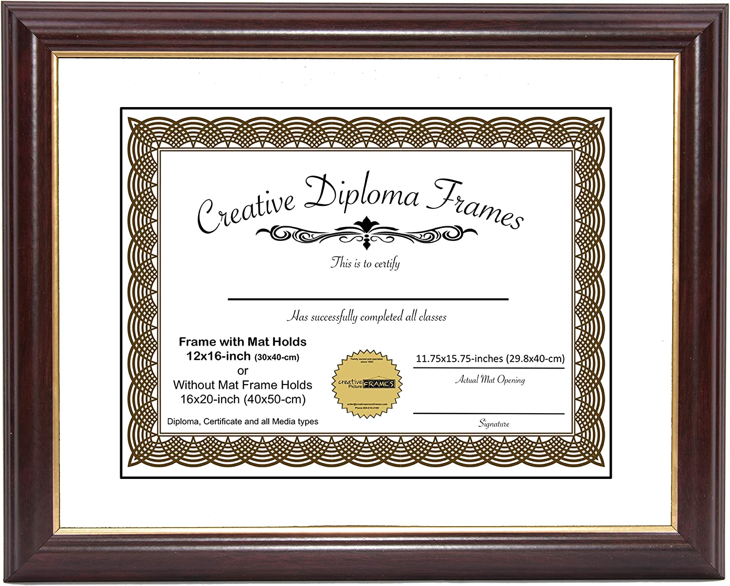 CreativePF [12x16-Diploma] Mahogany Frame with Gold Rim, White Matting Holds 12x16-inch Documents with Glass and Installed Wall Hanger