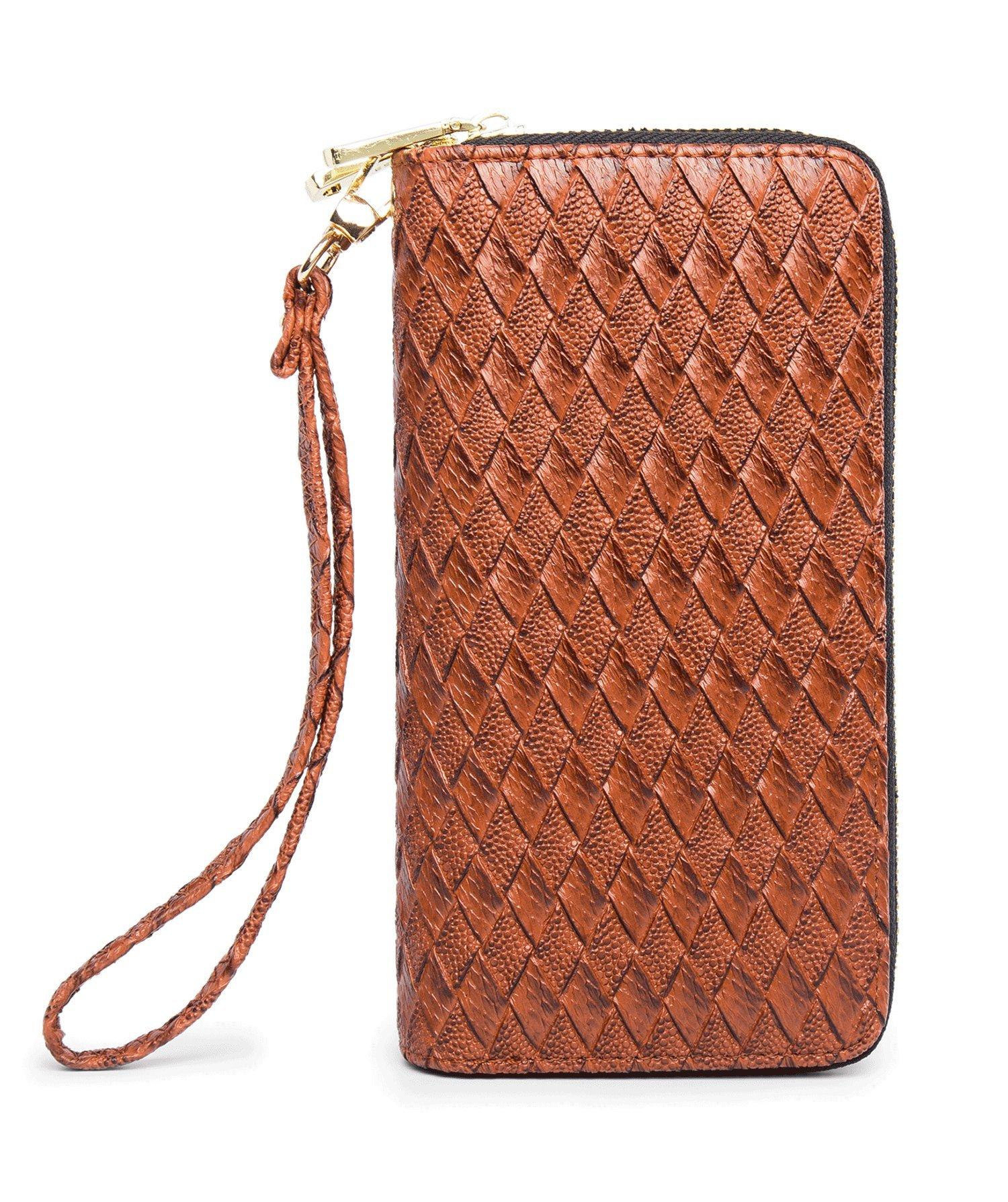 LIKESHE Women Deep Brown Braided Pattern Multifunctional Double Zipper Wallets(DeepBrown-BZW-22A8)