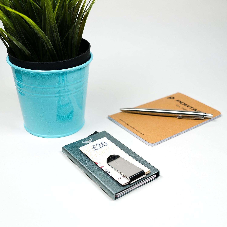 Grigio w//clip dei soldi Stealth Wallet RFID blocco titolare della carta di credito Portafoglio /& Soldi Clip Improved v4 modello