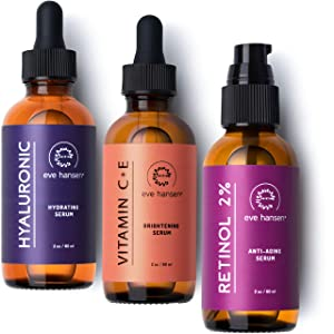 Eve Hansen Full-Size Anti-Aging Serum Set with Hyaluronic Acid, Vitamin C, and Retinol Serums for Improved Appearance of Wrinkles and Fine Lines, Dark Spots, and Skin Firmness 3 x 2 oz