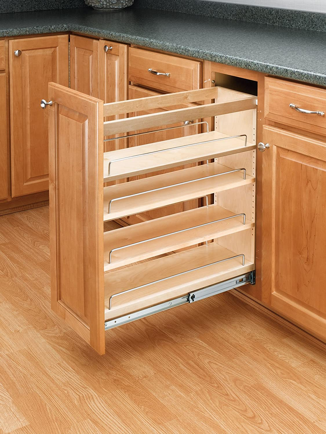 Rev-A-Shelf 448-BC-8C Base Cabinet Pullout Organizer with Wood Adjustable Shelves Sink & Base Accessories, 8-Inch