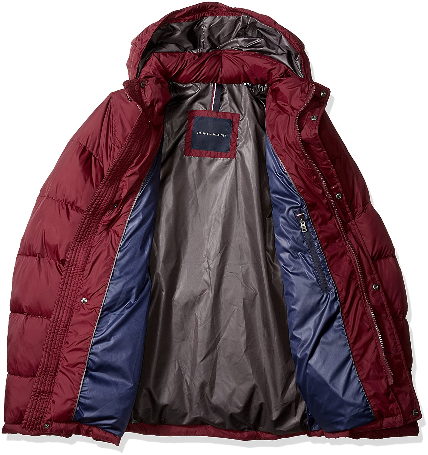 Regular, Big, and Tall Tommy Hilfiger Mens Nylon Two Pocket Hooded Puffer Jacket