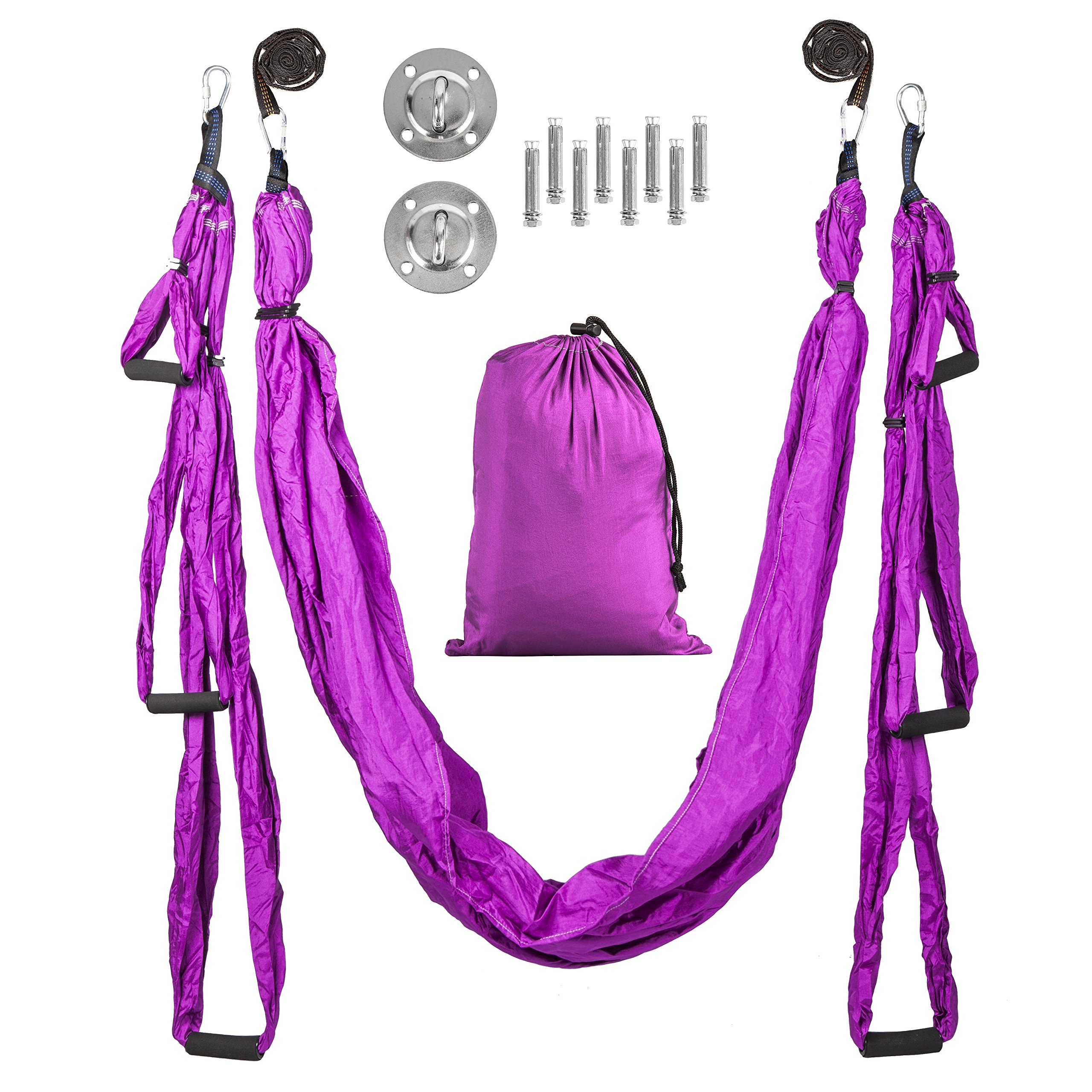 Mantrama Aerial Yoga Swing | Professional Yoga Hammock w/Sling Bag, 2 Extension Straps, Ceiling Mounting Kit | Premium Yoga Trapeze Sling For Inversion Exercises | Durable Antigravity Yoga Equipment