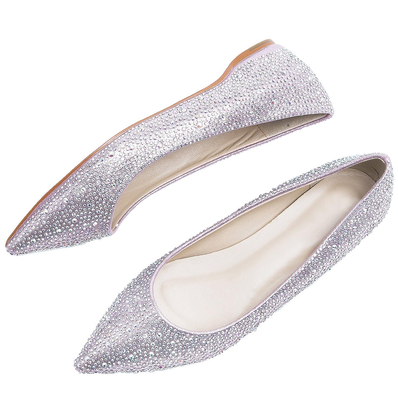 HooH Damen Flat Schuhe Bling Strass Spitze Spitze Strass Zehe Rote Sohle Ballerinas Hochzeit Schuhe Slip On Pink e1eff8