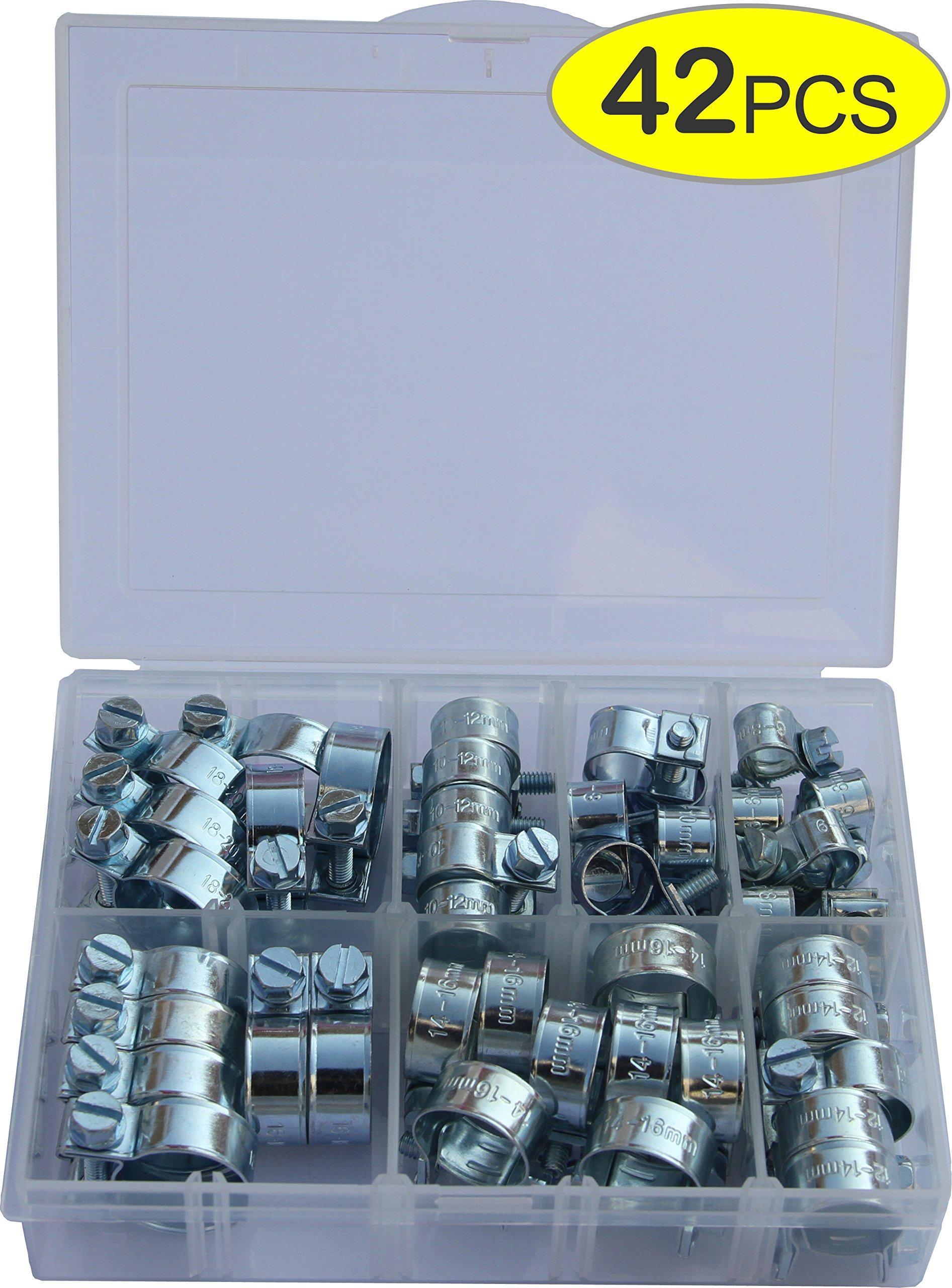 IEUYO Mini Hose Clamp,7 Sizes, 42PCS Mini Hose Clamp Assortment Kit For Pipe/Tube/ Cable/Line, Fuel Tube,Air Tube,Zinc Plated Steel , Adjustable, Range 6- 20mm