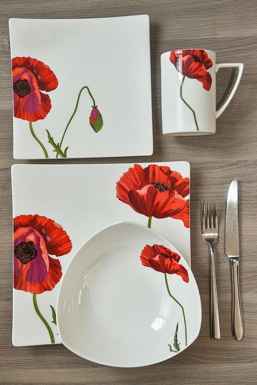 Red Vanilla Summer Sun Bone China 4-Piece Dinning Set