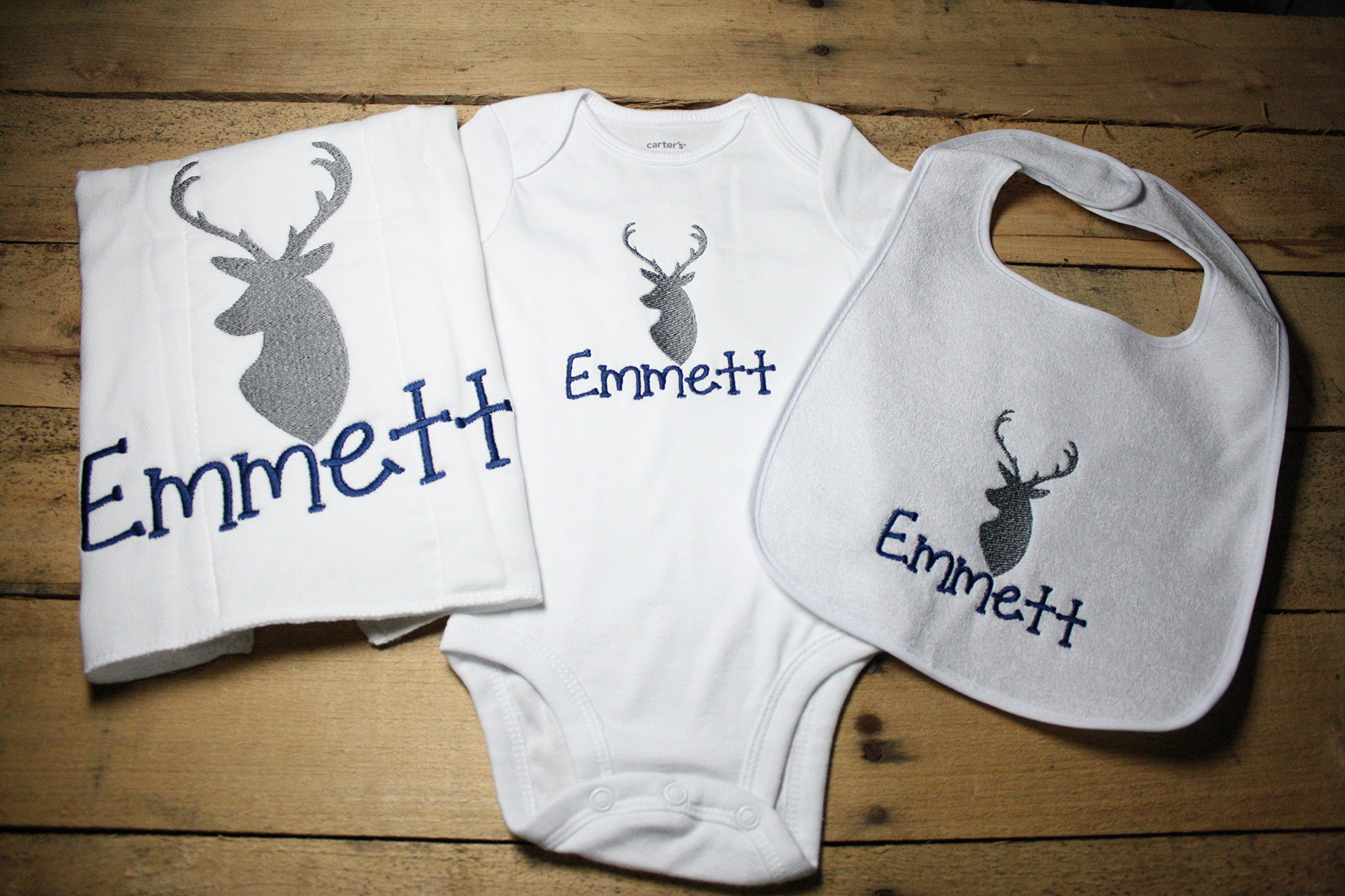 Personalized Deer Bodysuit, Bib, Burp Cloth Set Embroidered Hunting Antlers Camo Monogrammed Bodysuit