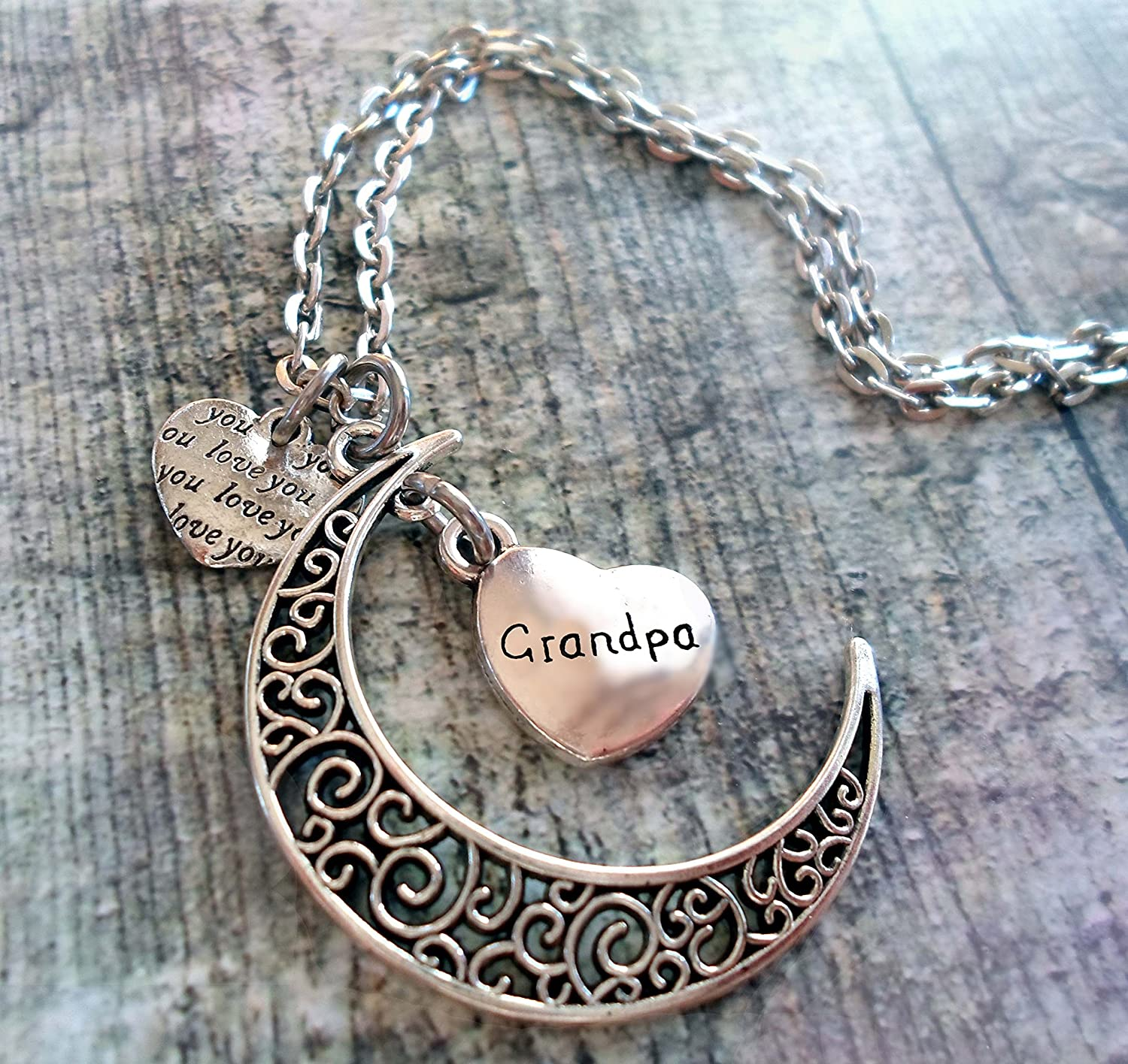 Filigree Crescent Moon Necklace with Engraved Grandpa Heart Hand-crafted with Love! Grandfather Gift