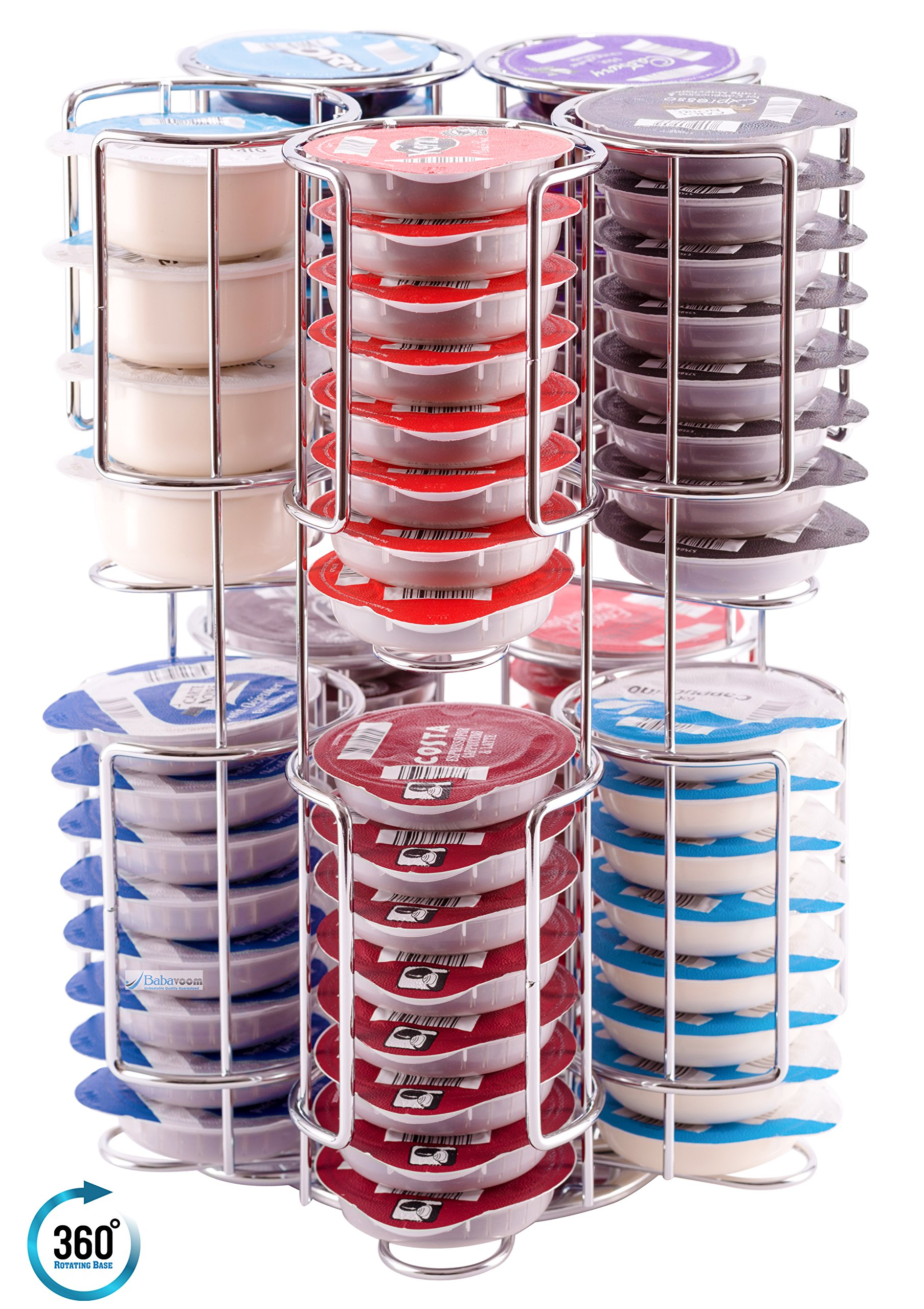 Tassimo Pod Holder Stores 80 Pods including Larger Milk Pods Rotating Base Unbeatable Quality Guaranteed Babavoom T80