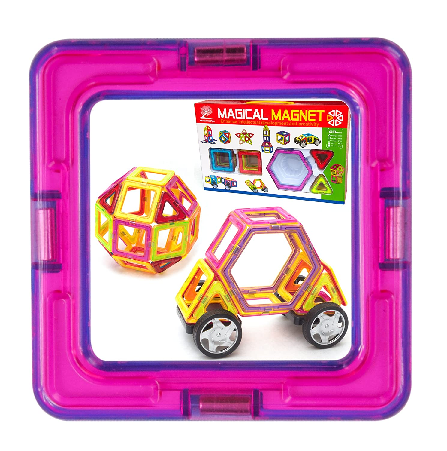 Magnetic Tile Building Set - 40 Large Tiles with Wheels, Educational Toys that Teach Colors, Shapes, and Patterns; Build Cars and Trucks for Boys or Castles for Girls, Fun for Toddlers to Teens Review