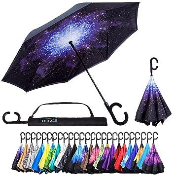 Dryzle Paraguas inverso de Apertura automática para Mujer y Hombre (15 Diseños), 23