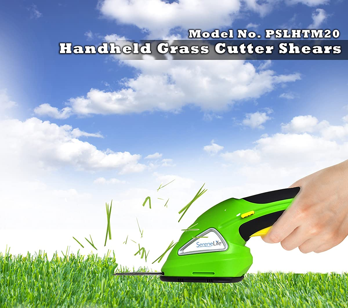 SereneLife Battery Grass Cutter, Grass Clippers Cordless, Trimmer Cutter, Handheld Trimmer, Grass Shear Electric,Perfect For Leaves & Debris, Rechargeable Battery, Charge Time 4 Hrs, 3.6V (PSLHTM20)