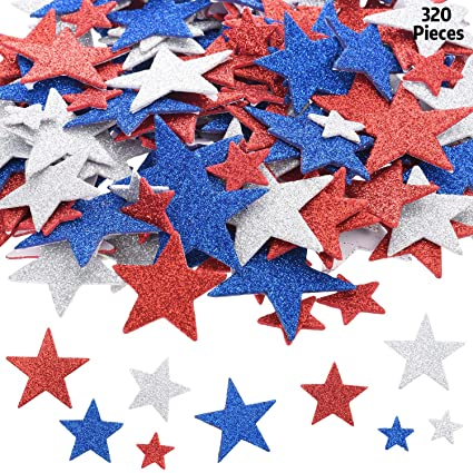 and Blue Glitter Star Foam Stickers Self Adhesive for July 4th Independence Day Decoration Craft Mayam 360 Pieces Patriotic Star Stickers July 4th Foam Stickers Red White