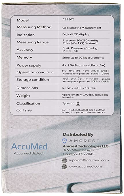 Amazon.com: Accumed abp802 Upper Arm Blood Pressure Monitor ...