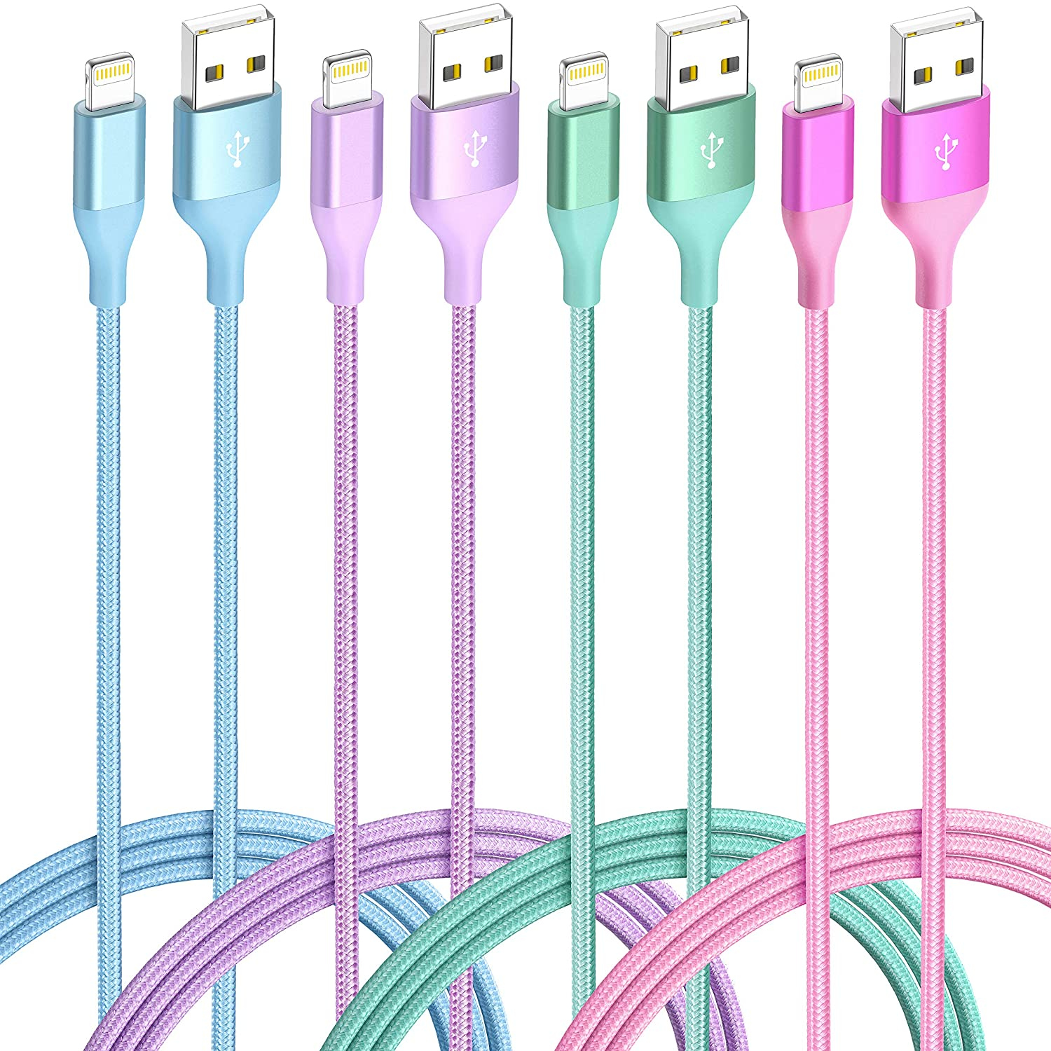 iPhone Charger Lightning Cable 4Pack(6/3/3/1ft) 4Color MFi Certified Nylon Braided Long Fast USB Cord Compatible for iPhone 11Pro MAX Xs XR X 8 7 6S 6 Plus SE 5S 5C (Blue Green+Red Purple)