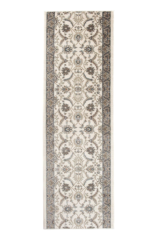 Tapiso Dubai Läufer Teppich Brücke Creme mit Klassisch Traditionell Ornament Floral Blumen Muster Flur Wohnzimmer ÖKOTEX 120 x 340 cm