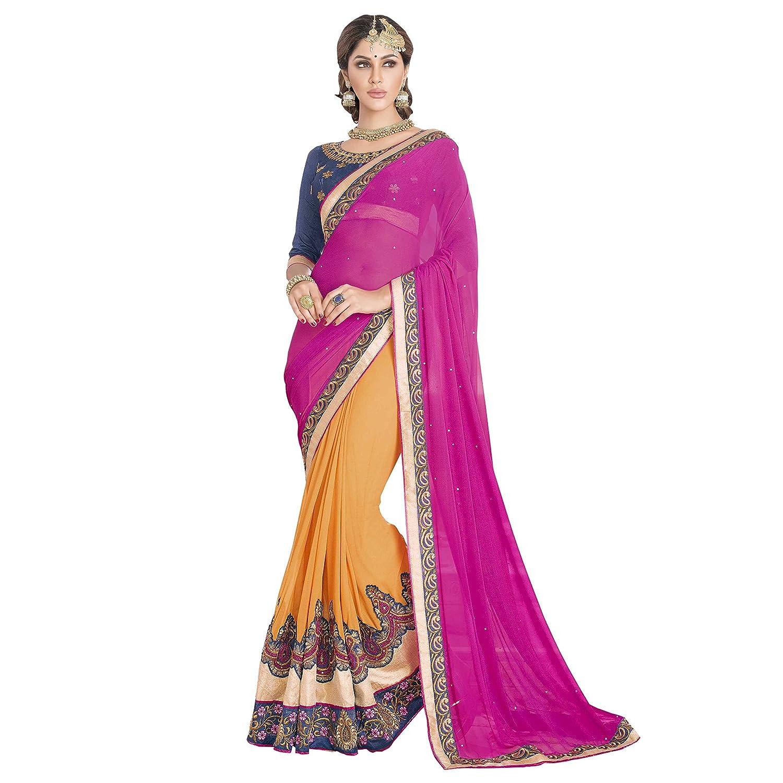 7c74024eeb Bhelpuri Women Orange and Pink Georgette Embroidered Saree: Amazon.in:  Clothing & Accessories
