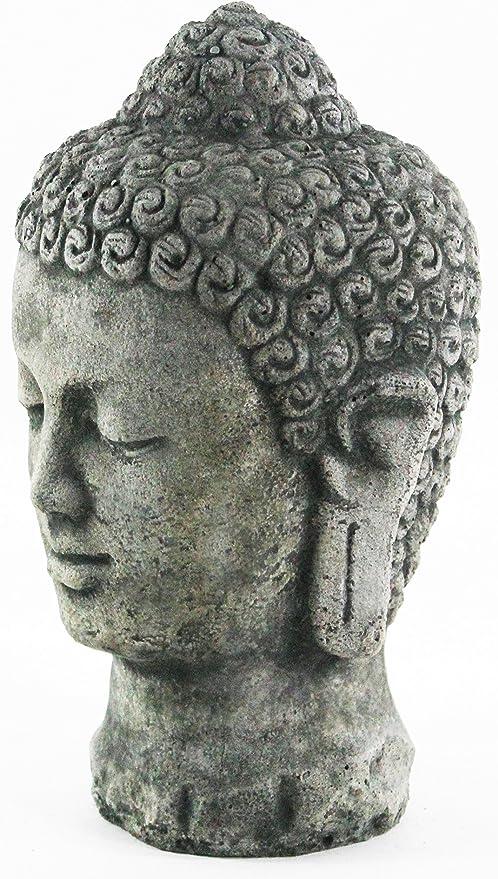 Buddha Head Bust BUDDHA GARDEN ORNAMENT KOI POND Sculpture Asia China Figurine Garden