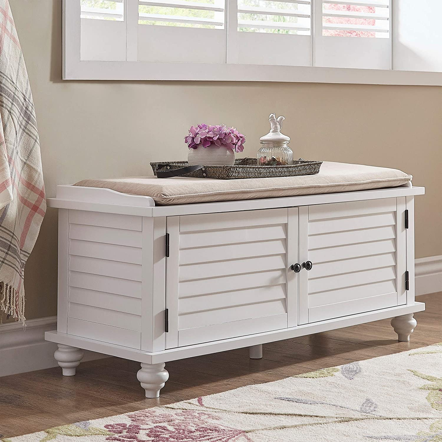 White entryway storage bench entryway furniture classic style velvet fabric foam wood mdf shutter detail cushion bundle with our expert guide with