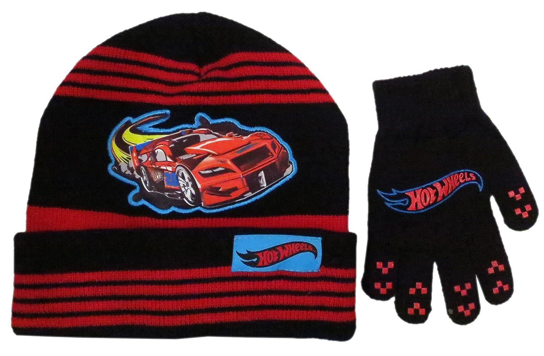 Hot Wheels Boys Black and Bed Stripes Beanie Hat and Glove Set – Size 4 – 7 [4014] BioWorld 00_URZJHVFD_SD
