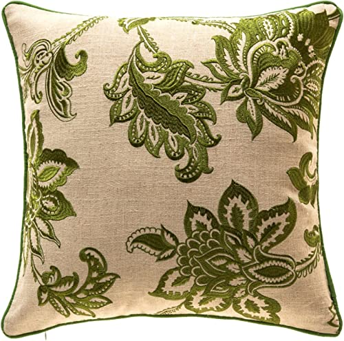 TINA S HOME French Country Floral Decorative Throw Pillows with Down Alternative Filling Embroidery Linen Living Room Sofa Couch Bed Accent Pillows 20 x 20 inches, Green