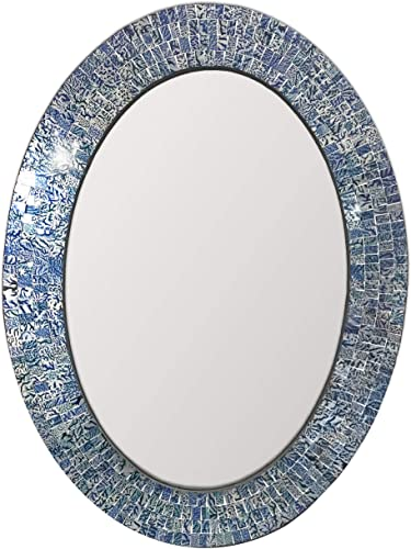 DecorShore Traditional Decorative Mosaic Mirror – 32×24 in Oval Shape Hanging Blue Wall Mirror