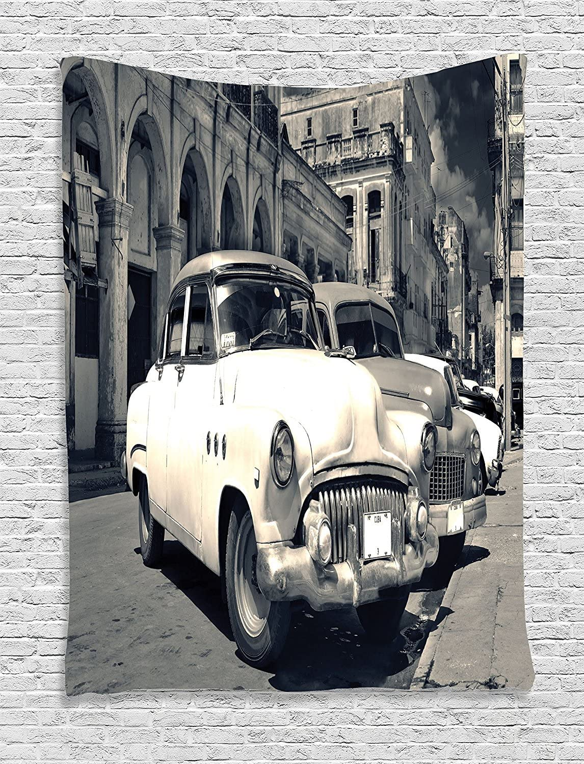 Ambesonne Vintage Car Tapestry, A Panoramic View of a Shabby Old Havana Street with Retro Classic American Vehicles Work of Art, Wall Hanging for Bedroom Living Room Dorm Decor, 60