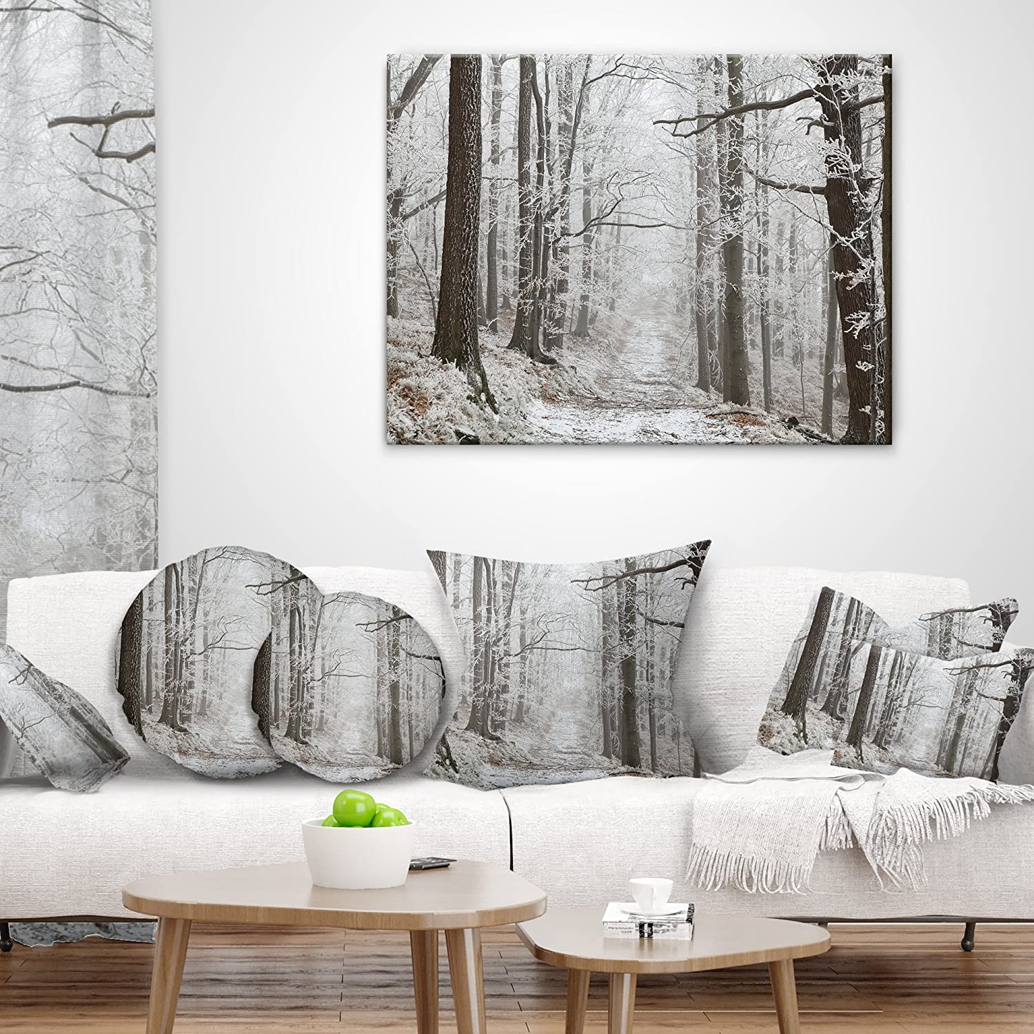 X 16 In Insert Printed On Both Side In Sofa Throw Pillow 16 In Designart Cu14832 16 16 Trail On Winter Morning Forest Cushion Cover For Living Room Throw Pillow Covers Home Kitchen