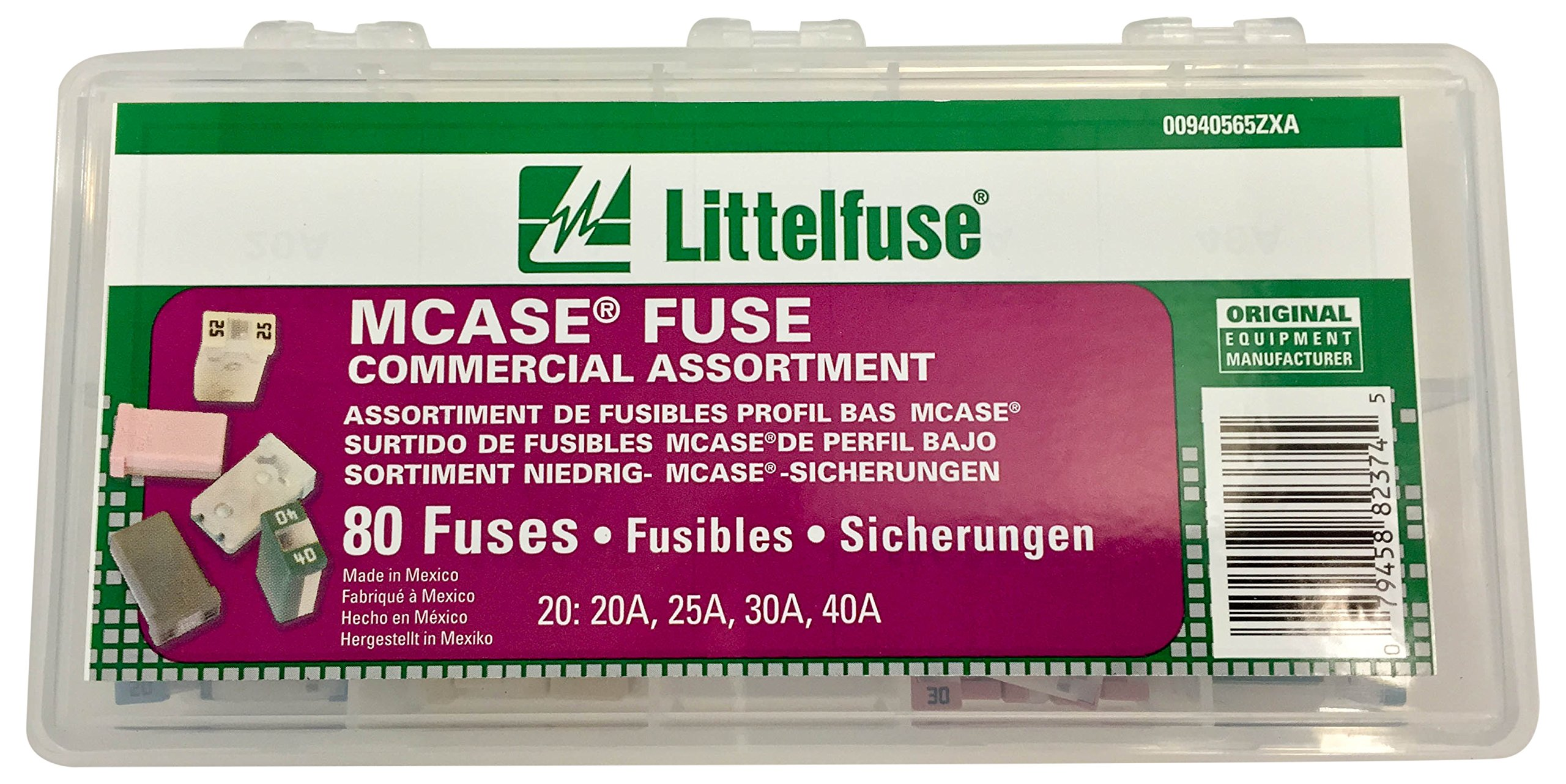 Littelfuse 00940565ZXA MCase Blade Fuse Commercial Assortment (Pack of 80)