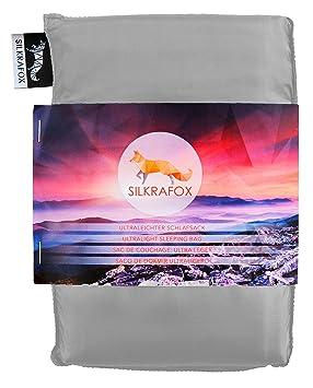 Silkrafox Saco de dormir ultraligero para las excursiones de senderismo, los viajes, las acampadas, seda artificial, gris: Amazon.es: Deportes y aire libre