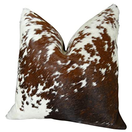 Amazon Com Thomas Collection Decorative Cowhide Throw Pillow Brown