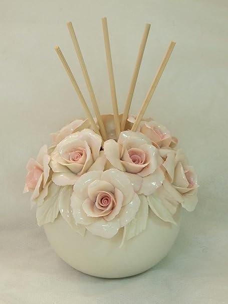 Bomboniere Capodimonte Matrimonio.Visconti Vasetto Con Rose Pink In Porcellana Capodimonte
