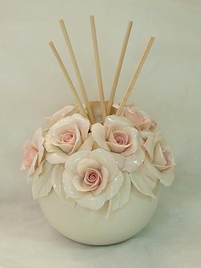 Prezzi Bomboniere Matrimonio.Vasetto Con Rose Pink In Porcellana Capodimonte Bomboniera Matrimonio