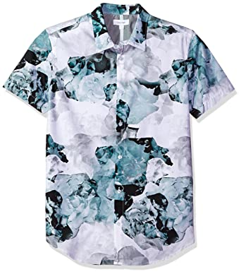 Calvin Klein Men's Short Sleeve Watercolor Floral Print Button ...