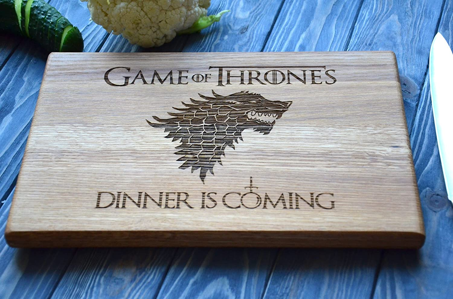 Jon Snow Dinner Is Coming Cutting Board (7.8*11.8'') Or (9.8*13.8) Game of Thrones Stark Family Wooden Custom Engraved Chopping Board Personalized Housewarming Gift For Couple Wedding Present Idea By Enjoy The Wood