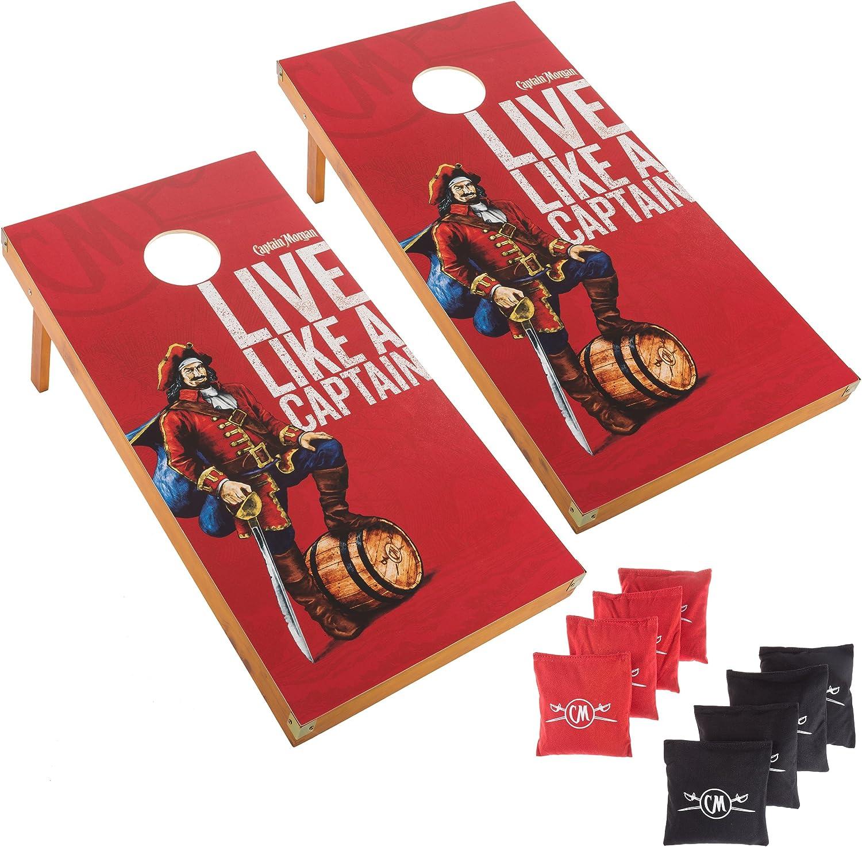 キャプテンモーガンCornholeアウトドアゲームセット、2木製規定サイズCorn穴Toss Boards with 8 Bean Bags for Adults