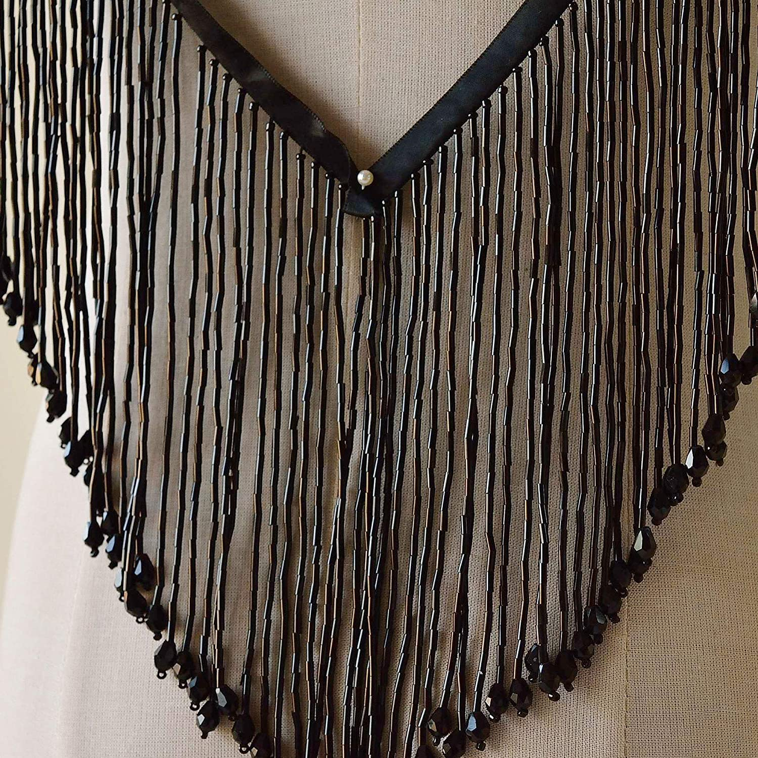 Dangling Fringe Trims by The Yard Beaded Fringe Trim Heavy Beads Fringe Dress Tassel for Party Costumes Ivory Color