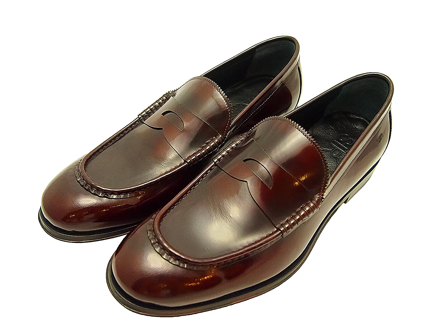 Sir Men's Leather Dress Shoes - Noah Bordeaux Slip-On Leather Loafers