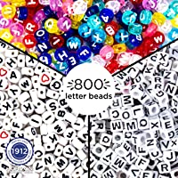 Just My Style 800 Pcs Mix ABC Alphabet Beads Refill Pack by Horizon Group USA, 200 Square Letter Beads, 300 Colorful Alphabet Beads, 300 Round ABC Beads