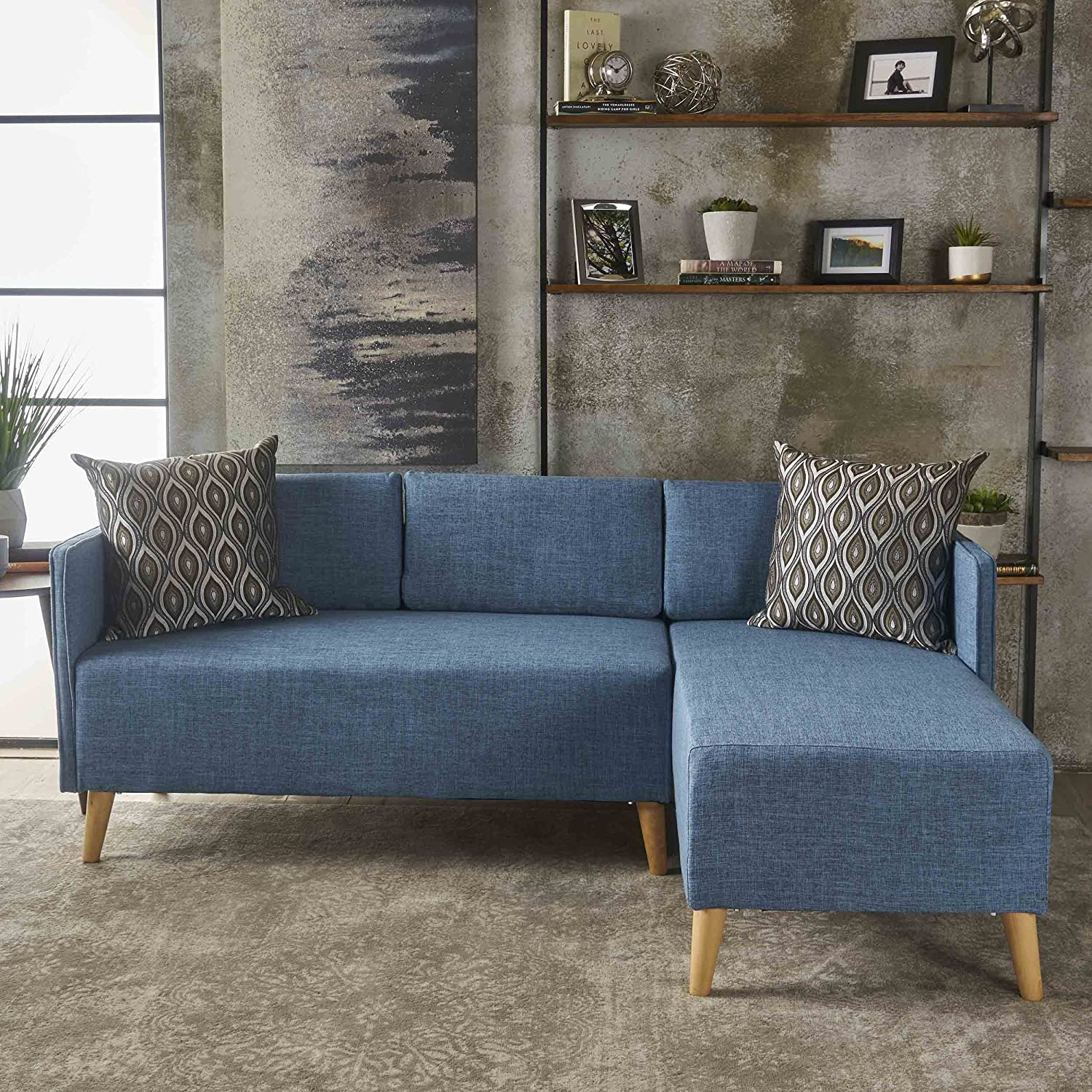 GDF Studio 301458 Andresen Mid Century Modern Muted Blue Fabric Chaise  Sectional, Natural
