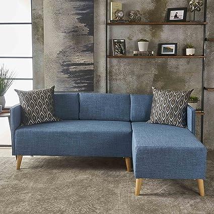 Amazon.com: Andresen Mid Century Modern Muted Blue Fabric Chaise ...